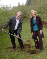 Adrian and Kay planting an oak tree in Earls Barton Pocket Park, October 2008.