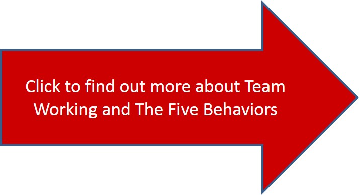 team working five behaviors arrow click