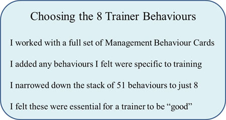 train the trainers behaviours 1 - The 8 behaviours